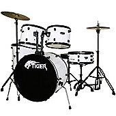 Tiger Full Size 5 Piece Drum Kit - White