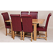 Hampton Solid Oak Extending 120 - 160 cm Dining Table with 4 Burgundy Washington Leather Chairs