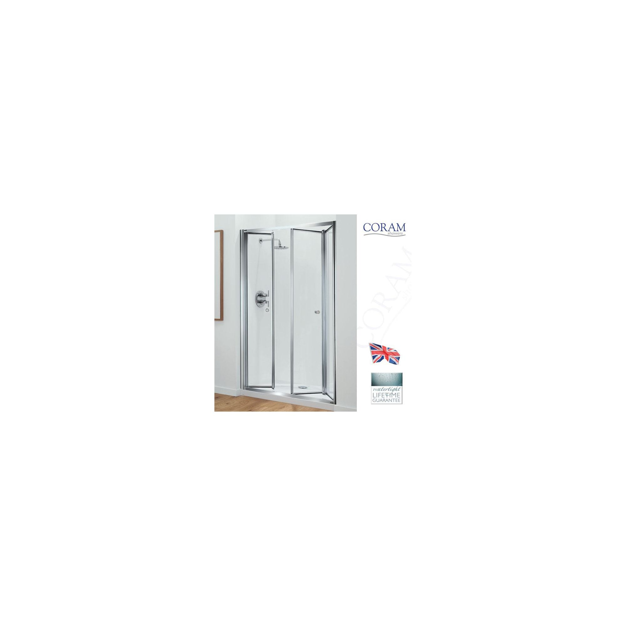 Coram Optima Tri-Fold Door ALCOVE Shower Enclosure, 1200mm x 800mm, Low Profile Tray, 6mm Glass at Tesco Direct