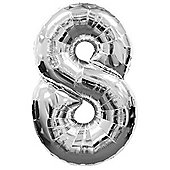 Silver Number 8 Balloon - 34' Foil (each)