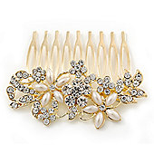 Bridal/ Wedding/ Prom/ Party Gold Plated Clear Crystal and Light Cream Simulated Pearl Floral Hair Comb - 50mm
