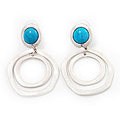 Matt Silver Tone Double Hoop Turquoise Stone Drop Earrings - 5cm Length
