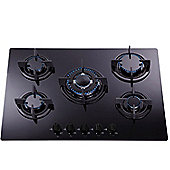 SIA GHG703BL 70cm Black 5 Burner Gas on Glass Hob With FFD/LPG KIT/CAST IRON