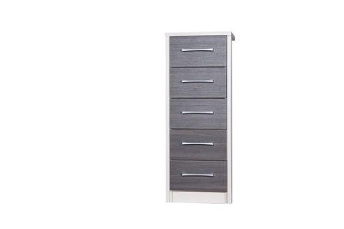 Alto Furniture Avola 5 Drawer Tall Boy Chest - Cream Carcass With Grey Avola