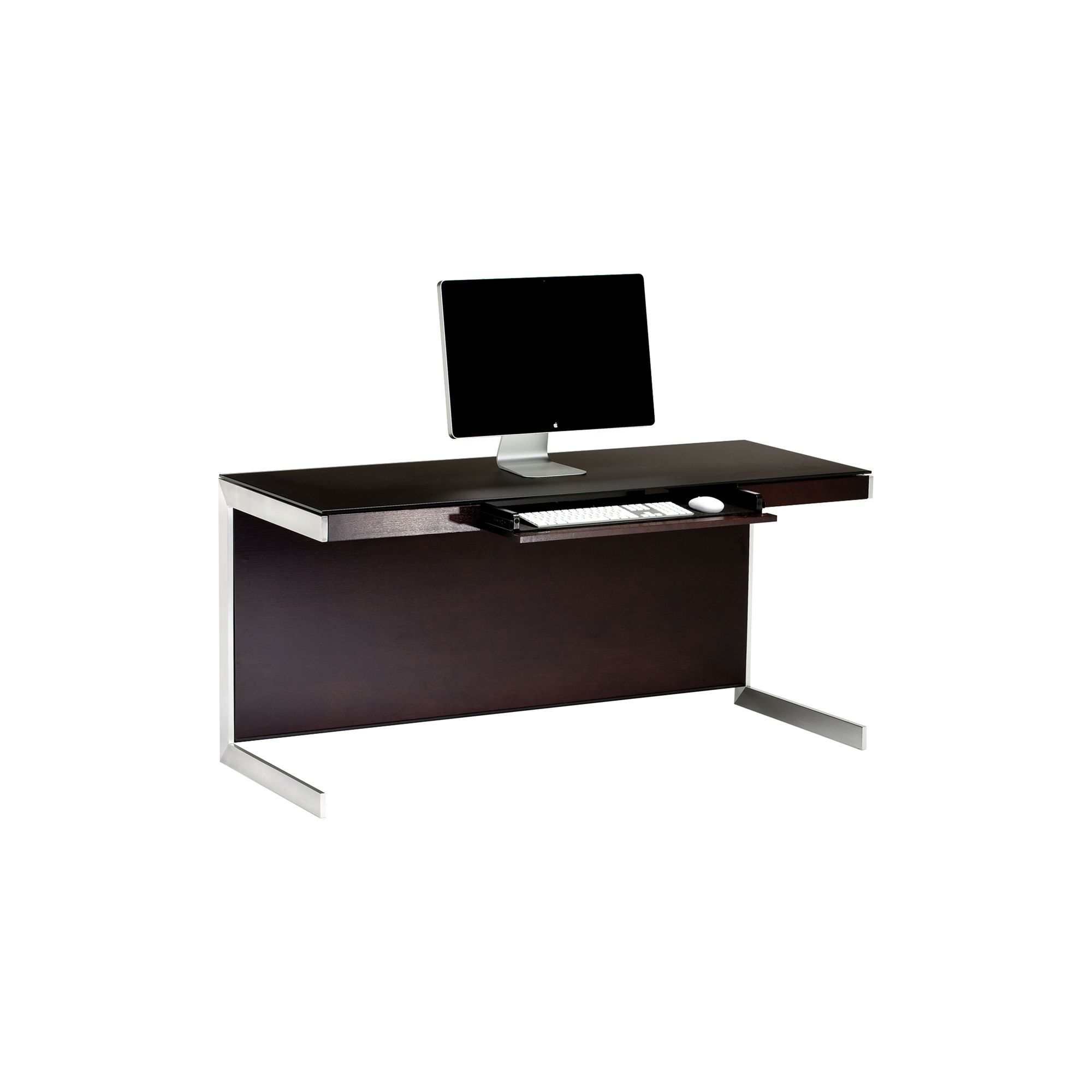 Sequel 6001 Desk in Espresso Stained Oak with Glass Top at Tesco Direct