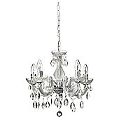 Antoinette 5 Arm Chandelier, Clear