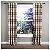 Tropical Check Lined Eyelet Curtains 66x54 Aubergine