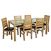 Premier Housewares 7 Piece Solid Oak Dining Set with Glass Top
