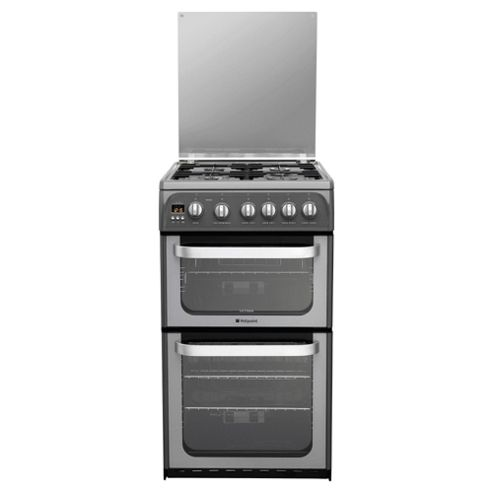 Hotpoint HUG52G Graphite Gas Cooker, Double Oven