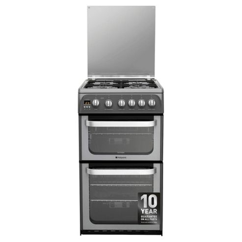 Hotpoint HUG52G, Ultima, Freestanding, Gas Cooker, 50cm, Graphite, Twin Cavity, Double Oven