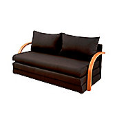 Comfy Living Fold Out Sofa Bed with Wooden Arms in Black