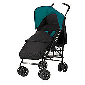 Obaby Atlas Black & Grey Stroller with Black Footmuff/Turquoise Hood