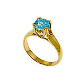 QP Jewellers 1.10ct Blue Topaz Solitaire Ring in 14K Gold
