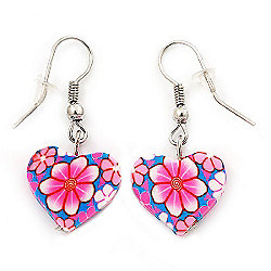 Children's Small Pink Acrylic 'Heart' Drop Earring In Silver Plating - 3cm Length