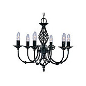 Matt Black Wrought Iron Pendant Light with Ornate Twisted Column