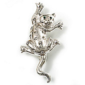 'Naughty Cat' Silver Tone Clear Crystal Brooch