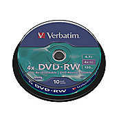 Verbatim DVD-RW 4.7GB 4x Spindle (10 Pack)
