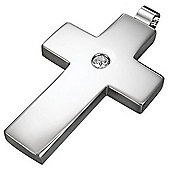 Urban Male Plain Stainless Steel Cross Pendant with CZ