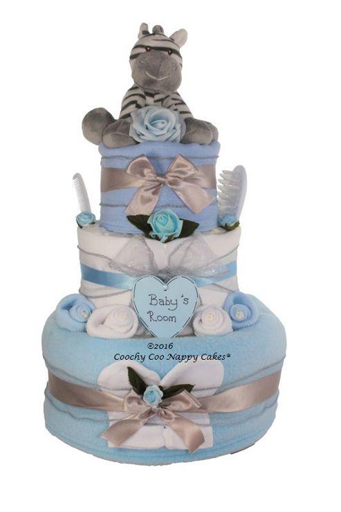Buy Luxury Baby Boy Gift Zebra Nappy Cake (Three tier ...