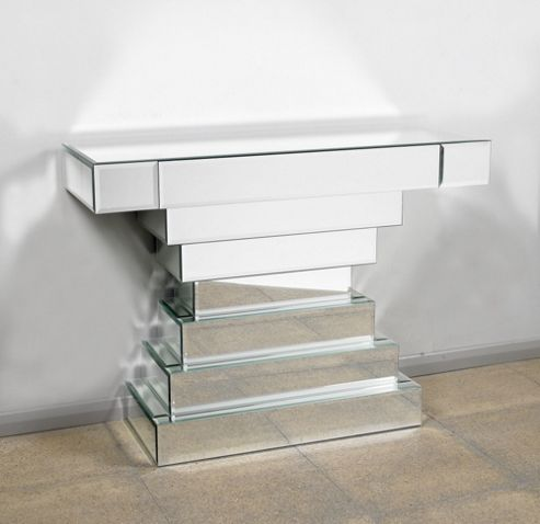 Morris Mirrors Ltd One Drawer Console Table in Silver