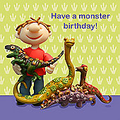 Holy Mackerel Monster birthday Greetings Card