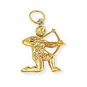 Jewelco London 9ct Light Yellow Gold - Sagittarius Charm Pendant -