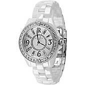 Judith Ripka Ladies Ceramic MOP Dial Stone Set Watch WA001003-S