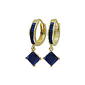 QP Jewellers 1.30ct Sapphire Princess Hoop Huggie Earrings in 14K Gold