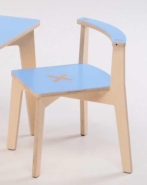 Foppapedretti Bambino Legno Misiedo Chair in Natural / Light Blue