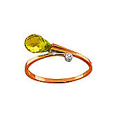 QP Jewellers Diamond & Peridot Raindrop Ring in 14K Rose Gold