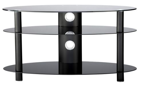 47 inch Curved Glass TV Stand - all black