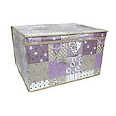 Country Club Jumbo Storage Chest, Purple Patchwork, 50 x 40 x 30cm