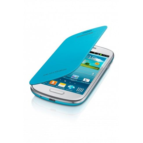 Samsung Galaxy S3 Mini Leather Feel Flip Case Light Blue