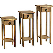 Corona Mexican Plant Stands (Set of 3) Distressed Waxed Pine