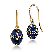 Gemondo Gold Plated Sterling Silver 0.38ct Marcasite Faberge Egg Style Drop Earrings