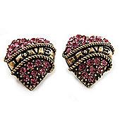 Antique Gold Pink Crystal 'Love' Heart Stud Earrings -2.5cm Diameter