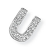 Jewelco London 9ct White Gold - Diamond - U' Initial Charm Pendant -