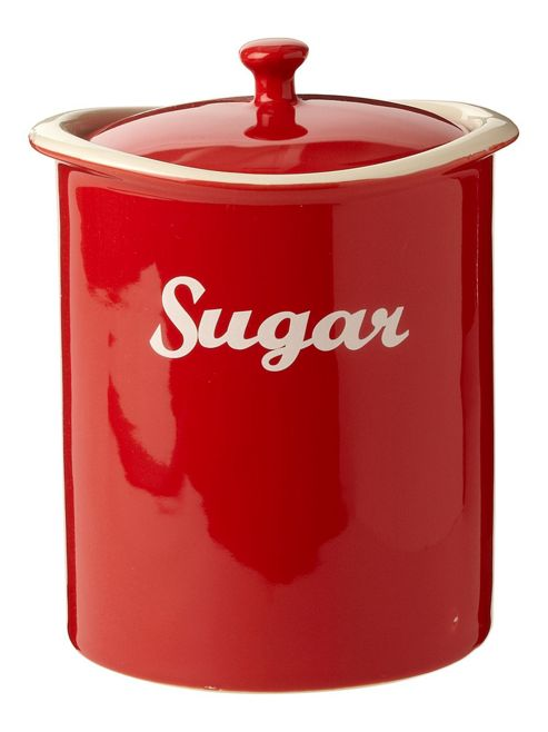 Linea Ceramic Curve Sugar Jar In Red