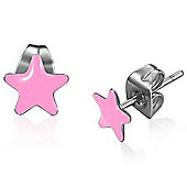 Urban Male Pink Resin & Stainless Steel Star Stud Earrings 7mm