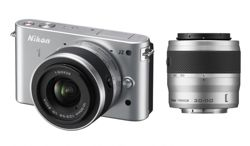 DS Nikon 1 J2 Mirrorless System Camera Silver 10-30mm, 30-110mm Lenses