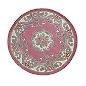 Lotus Premium Aubusson Pink 120x120 Wool Rug