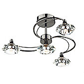 Stunning Modern Black Chrome 4 Light Semi Flush Ceiling Fitting