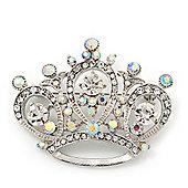 Clear & AB Crystal 'Princess' Crown Brooch In Rhodium Plated Metal - 4.5cm Length