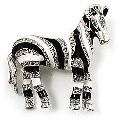Zebra Crystal Enamel Brooch (Silver Tone)