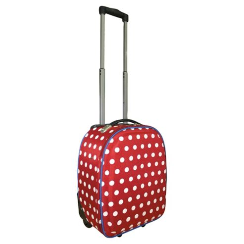 Tesco 2-Wheel Polka Dot Suitcase, Red Small