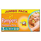 Pampers Simply Dry Size 3 Jumbo Pack - 90 nappies