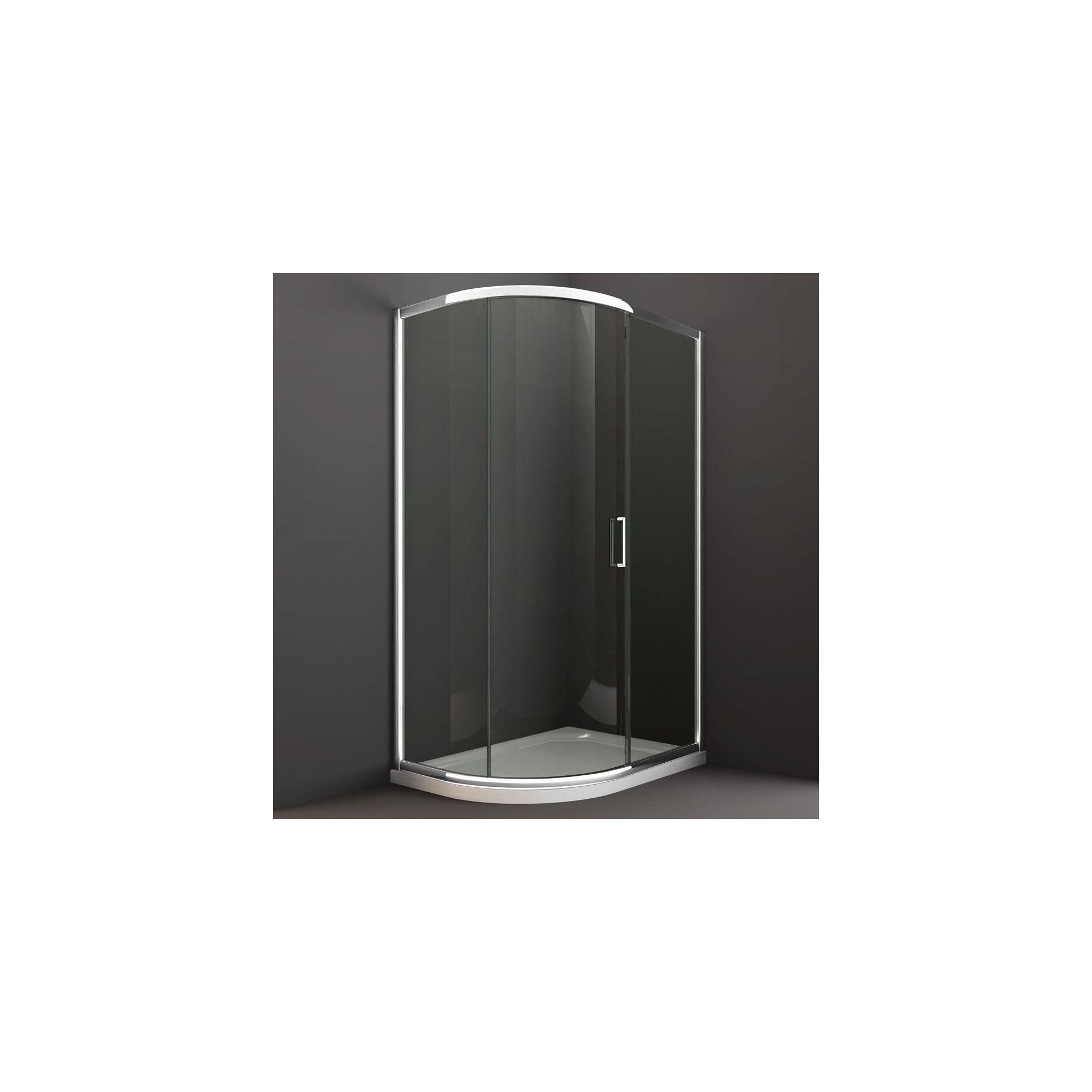 Merlyn Series 8 Offset Quadrant Shower Door, 900mm x 760mm, Chrome Frame, 8mm Glass at Tesco Direct