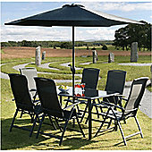 Suntime Havana 8 Piece Rectangular Dining Set with Parasol - Black
