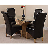 Valencia Glass & Oak 160 cm Dining Table with 4 Black Montana Leather Chairs