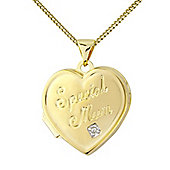 Sterling Silver overlaid with Gold Cubic Zirconia Locket Pendant with Chain